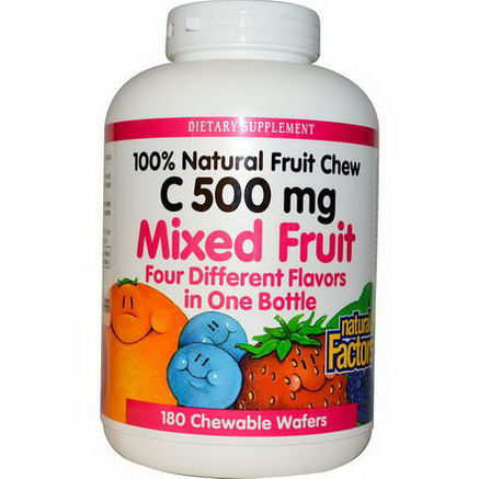 Natural Factors, C 500mg, Mixed Fruit, 180 Chewable Wafers