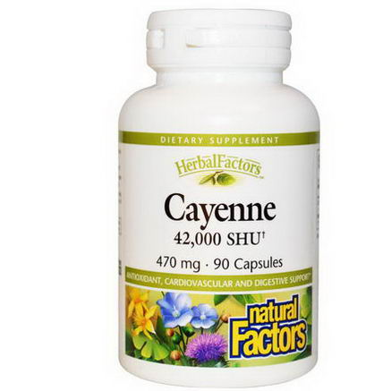 Natural Factors, Cayenne, 470mg, 90 Capsules