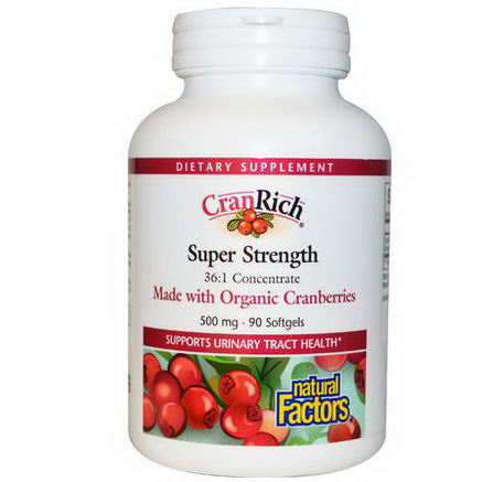 Natural Factors, CranRich, Super Strength, 500mg, 90 Softgels