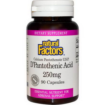Natural Factors, D'Pantothenic Acid, 250mg, 90 Capsules
