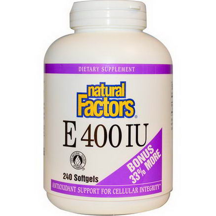 Natural Factors, E 400 IU, 240 Softgels