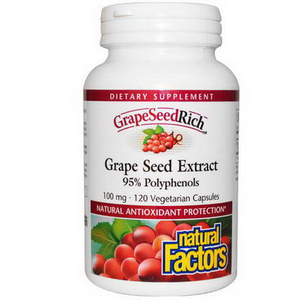Natural Factors, GrapeSeedRich, Grape Seed Extract, 100mg, 120 Veggie Caps
