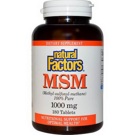 Natural Factors, MSM, (Methyl-sulfonyl-methane), 1000mg, 180 Capsules