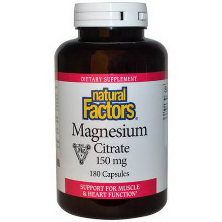 Natural Factors, Magnesium Citrate, 150mg, 180 Capsules