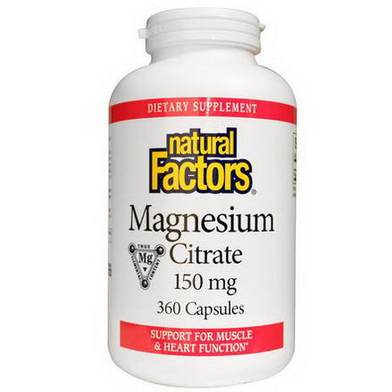 Natural Factors, Magnesium Citrate, 150mg, 360 Capsules