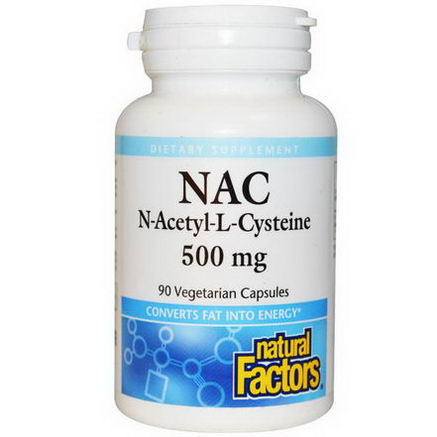 Natural Factors, N-Acetyl-L Cysteine, 500mg, 90 Veggie Caps