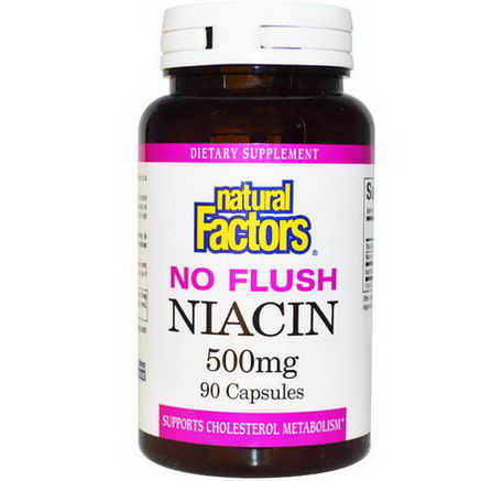 Natural Factors, No Flush Niacin, 500mg, 90 Capsules