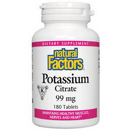 Natural Factors, Potassium Citrate, 99mg, 90 Tablets