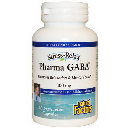 Natural Factors, Stress Relax, Pharma GABA, 100mg, 60 Veggie Caps