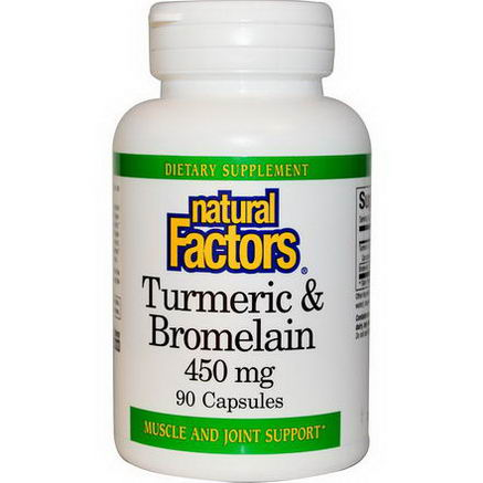 Natural Factors, Turmeric & Bromelain, 450mg, 90 Capsules