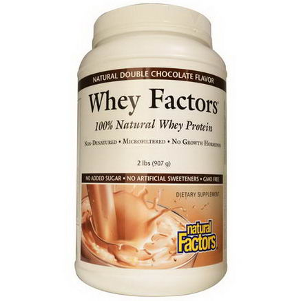 Natural Factors, Whey Factors, 100% Natural Whey Protein, Natural Double Chocolate Flavor, 2 lbs (907g)