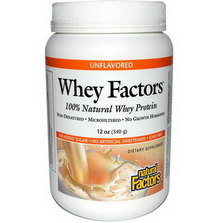 Natural Factors, Whey Factors, 100% Natural Whey Protein, Unflavored, 12oz (340g)
