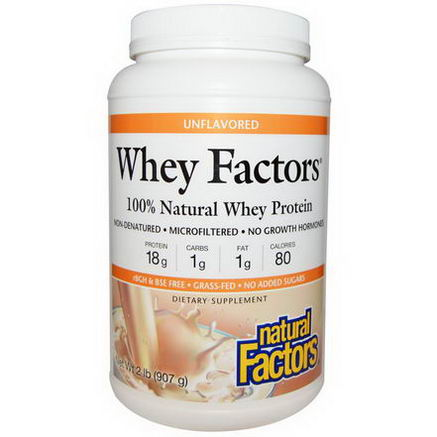 Natural Factors, Whey Factors, 100% Natural Whey Protein, Unflavored, 2 lbs (907g)