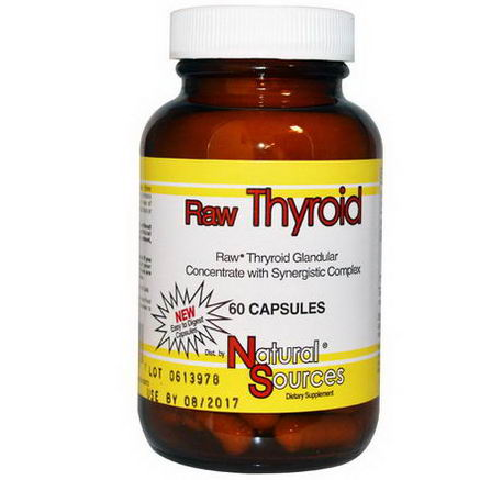 Natural Sources, Raw Thyroid, 60 Capsules
