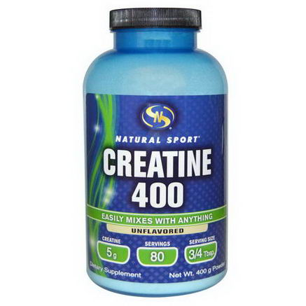 Natural Sport, Creatine 400, Powder, Unflavored, 400g
