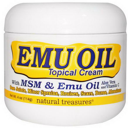 Natural Treasures, BNG, EMU OIL, Topical Cream, with MSM & Emu Oil, 4oz (114g)