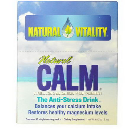 Natural Vitality, Natural Calm, A Relaxing Magnesium Supplement, 30 Single-Serving Packs, 0.12oz (3.3g)