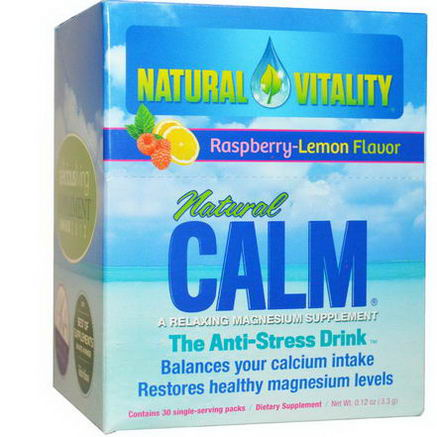 Natural Vitality, Natural Calm, A Relaxing Magnesium Supplement, Raspberry-Lemon Flavor, 30 Single Serving Packs, 0.12oz (3.3g)