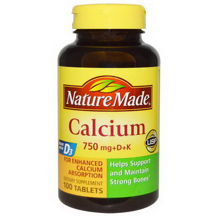Nature Made, Calcium 750mg +D + K, 100 Tablets