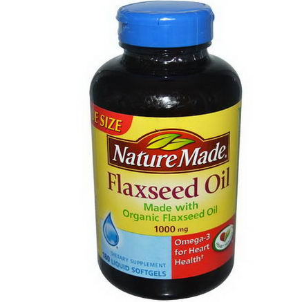 Nature Made, Flaxseed Oil, 1000mg, 180 Liquid Softgels