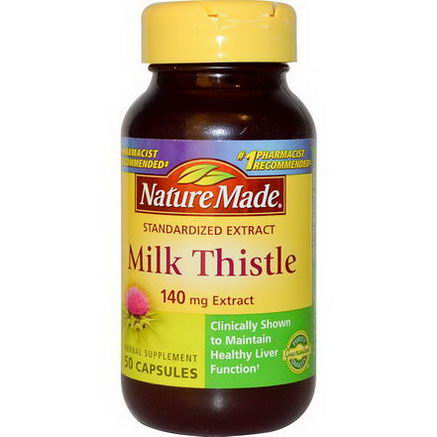 Nature Made, Milk Thistle, 140mg Extract, 50 Capsules