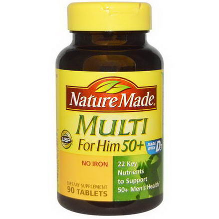 Nature Made, Multi For Him 50+, No Iron, 90 Tablets