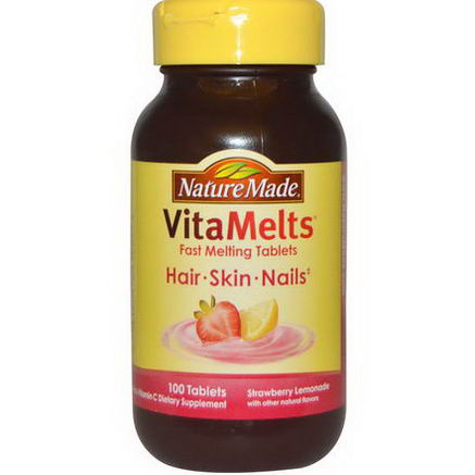 Nature Made, VitaMelts Hair, Skin and Nails, Strawberry Lemonade, 100 Tablets