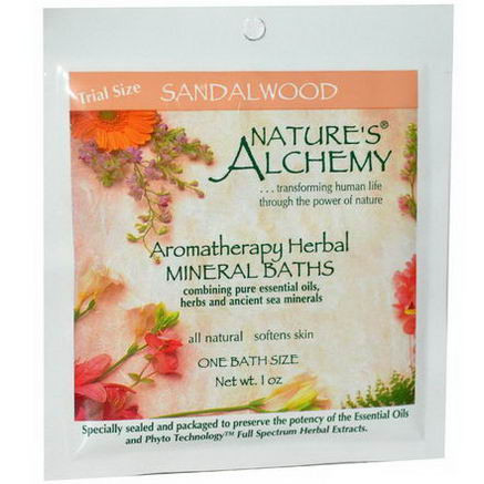 Nature's Alchemy, Aromatherapy Herbal Mineral Baths, Sandalwood, Trial Size, 1oz
