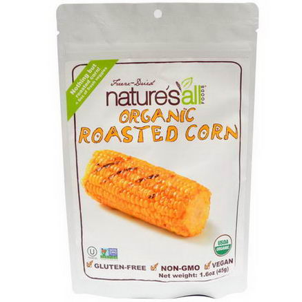 Nature's All, Foods, Freeze-Dried Organic Roasted Corn, 1.6oz (45g)