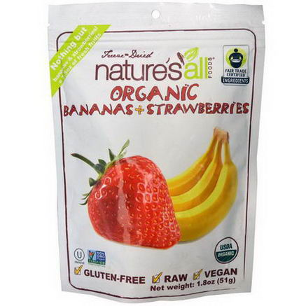 Nature's All, Organic Bananas + Strawberries, 1.8oz (51g)