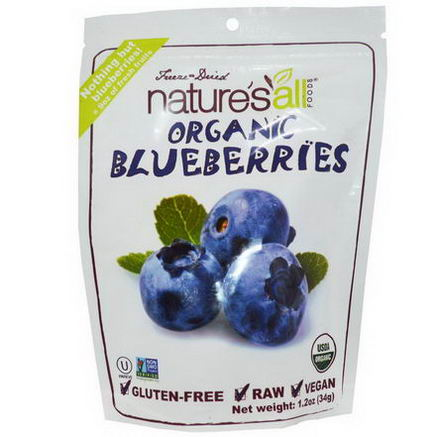 Nature's All, Organic Blueberries, Freeze-Dried, 1.2oz (34g)