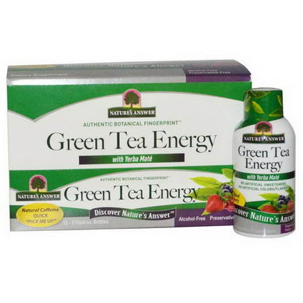 Nature's Answer, Green Tea Energy with Yerba Mate, Mixed Berry, 12 Bottles, 2 fl oz (60 ml) Each