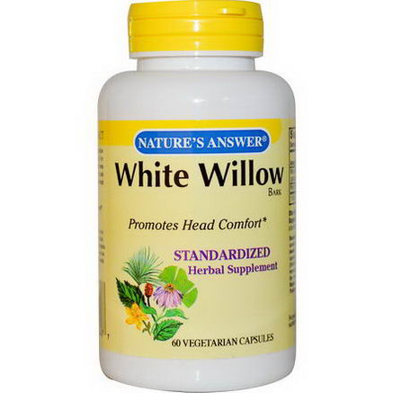 Nature's Answer, White Willow Standardized Bark, 60 Veggie Caps
