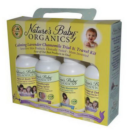Nature's Baby Organics, Calming Lavender Chamomile Trial & Travel Kit, 4 Piece Kit