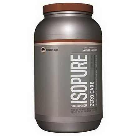 Nature's Best, Iso Pure, Isopure Protein Powder, Zero Carb, Cookies & Cream, 3 lbs (1361g)