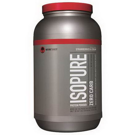 Nature's Best, Iso Pure, Isopure Protein Powder, Zero Carb, Strawberries & Cream, 3 lb (1361g)