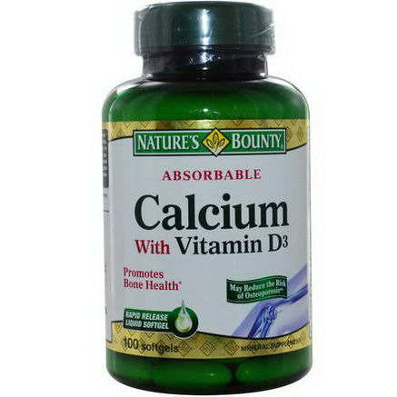 Nature's Bounty, Absorbable Calcium with Vitamin D3, 100 Softgels