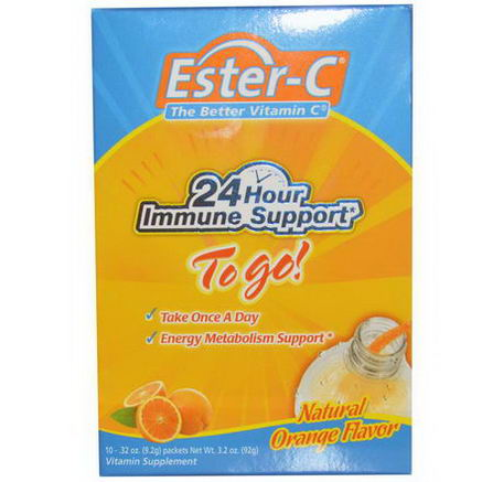 Nature's Bounty, Ester-C, The Better Vitamin C, To Go, Natural Orange Flavor, 10 Packets, 0.32oz (9.2g) Each