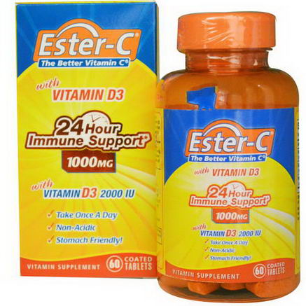 Nature's Bounty, Ester-C, with Vitamin D3, Immune Support, 1000mg, 60 Coated Tablets