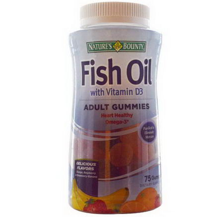 Nature's Bounty, Fish Oil with Vitamin D3, Adult Gummies, Orange, Raspberry & Strawberry-Banana, 75 Gummies