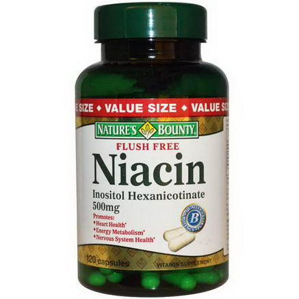 Nature's Bounty, Flush Free Niacin, 500mg, 120 Capsules