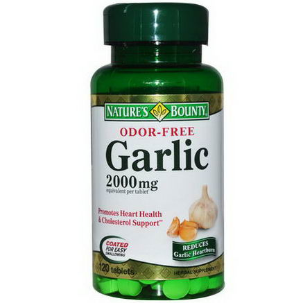 Nature's Bounty, Garlic, Odor-Free, 2000mg, 120 Tablets