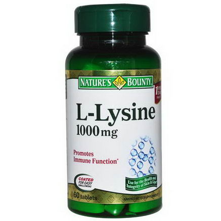 Nature's Bounty, L-Lysine, 1000mg, 60 Tablets