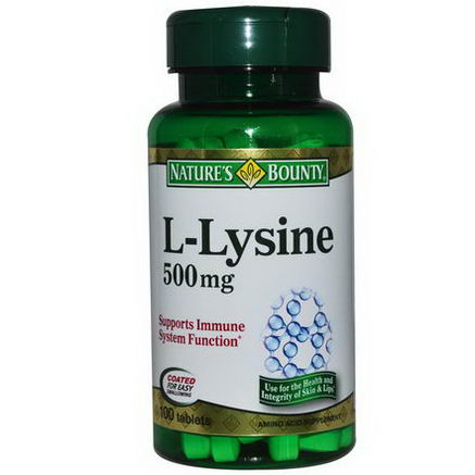 Nature's Bounty, L-Lysine, 500mg, 100 Tablets