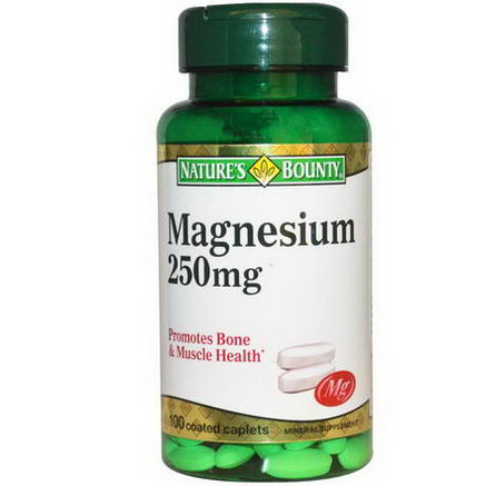 Nature's Bounty, Magnesium, 250mg, 100 Coated Caplets