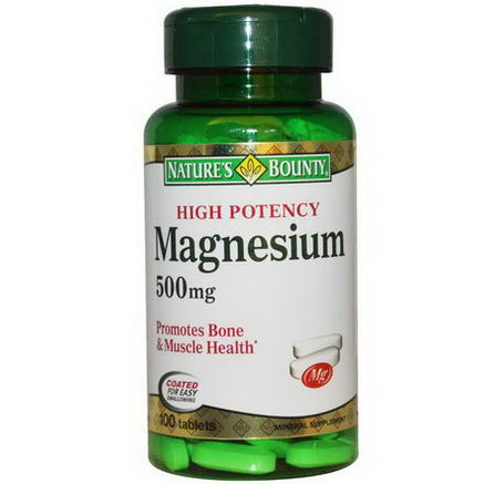 Nature's Bounty, Magnesium, High Potency, 500mg, 100 Tablets
