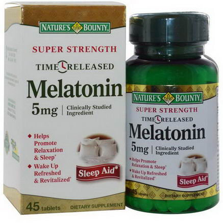 Nature's Bounty, Melatonin, Time Release, 5mg, 45 Tablets