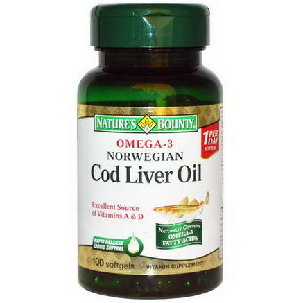 Nature's Bounty, Norwegian Cod Liver Oil, 100 Softgels