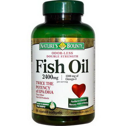 Nature's Bounty, Odor-Less Double Strength, Fish Oil, 2400mg, 90 Coated Softgels