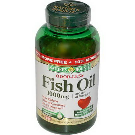 Nature's Bounty, Odorless Fish Oil Omega-3, 1000mg, 220 Coated Softgels